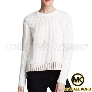 Michael Kors White Gold Studded Crewneck Sweater